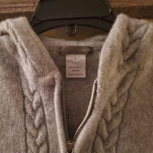 J.Crew Small sweater heather gray zipper hood
